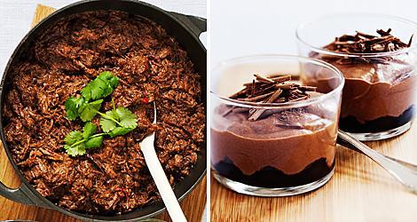 Långkokt chili på högrev och chokladmousse med körsbär