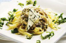 Pasta med gorgonzola och svamp