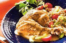 Kyckling med gräddsås och kornsallad