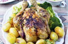 Hel kyckling med rosmarinsmör